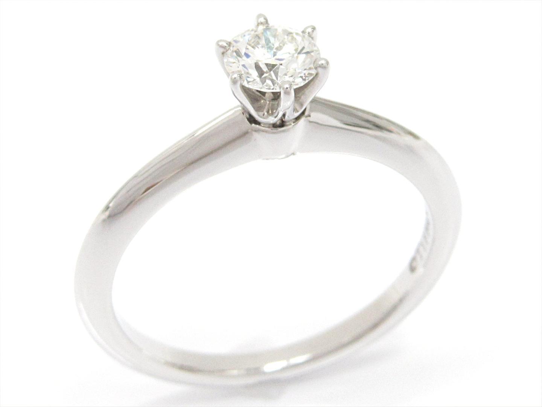 【中古】ティファニー ソリティアリング 指輪 ブランドジュエリー レディース PT950 プラチナxダイヤモンド(0.33ct)