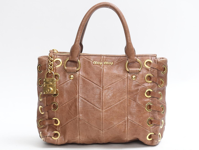 BRANDOFF  Authentic miu miu 2way Shoulder Bag lady leather Brown ... b0c0b3393e578