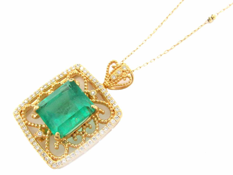 【中古】ジュエリー エメラルド ダイヤモンド ネックレス 貴金属 宝石 レディース K18YG(750) イエローゴールド x PT900 プラチナ エメラルド(6.662ct) ダイヤモンド(0.30ct)