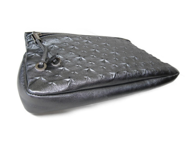 4795bd50d559 Authentic JIMMY CHOO ZANA Clutch Bag Second Bag Glitter leather Silver