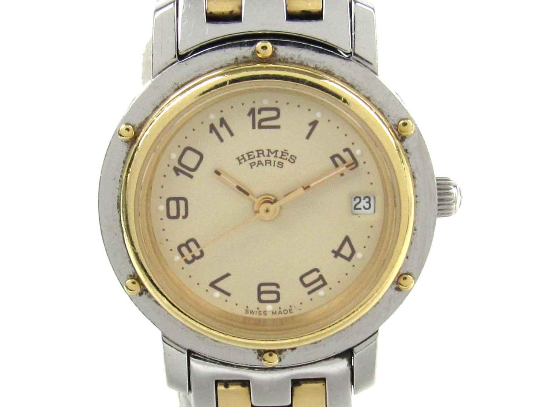 【中古】エルメス クリッパー ウォッチ 腕時計 レディース レディース ステンレススチール(SS) x メッキ(GP) (CL4.220)