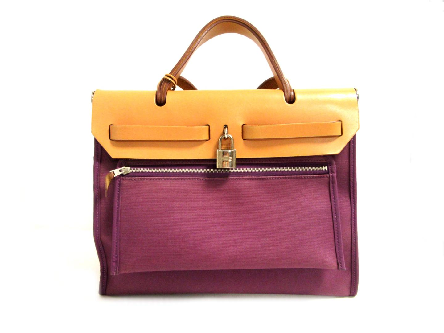 a6c40e02e ... promo code for authentic hermes herbag zip pm shoulder hand bag toile  officier anemone purple natural