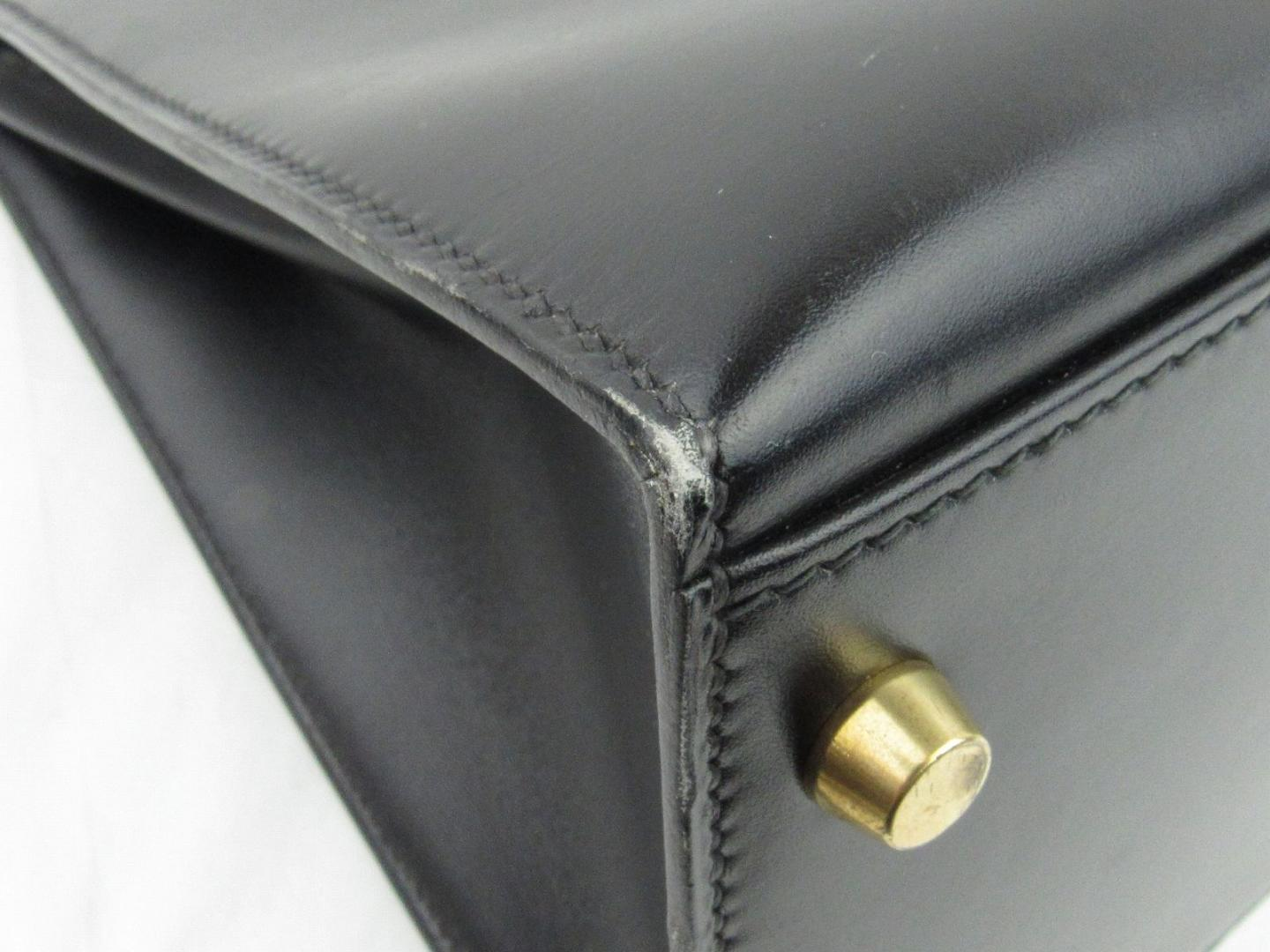 87a50c47b0d Authentic HERMES Kelly 35 outside stitched hand Bag Box calf leather Black  GHW