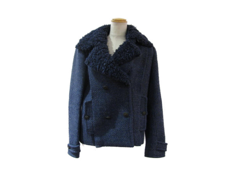 【中古】シャネル ツイードジャケット レディース ウール70%/リネン15%/シルク15% ネイビー