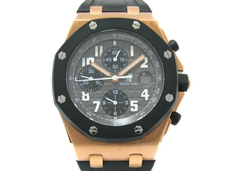 【中古】オーデマ・ピゲ ロイヤルオークオフショア 腕時計 ウォッチ 時計 メンズ K18PG(750)ピンクゴールド × ラバー ブラック×グレー (25940OK.OO.D002CA.01)