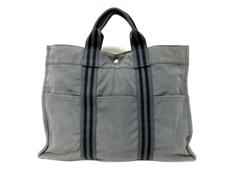 8244db6e7 ... Auth HERMES Fourre Tout MM Hand Tote Bag canvas Grey x Black Used  Vintage | BRANDOFF ...