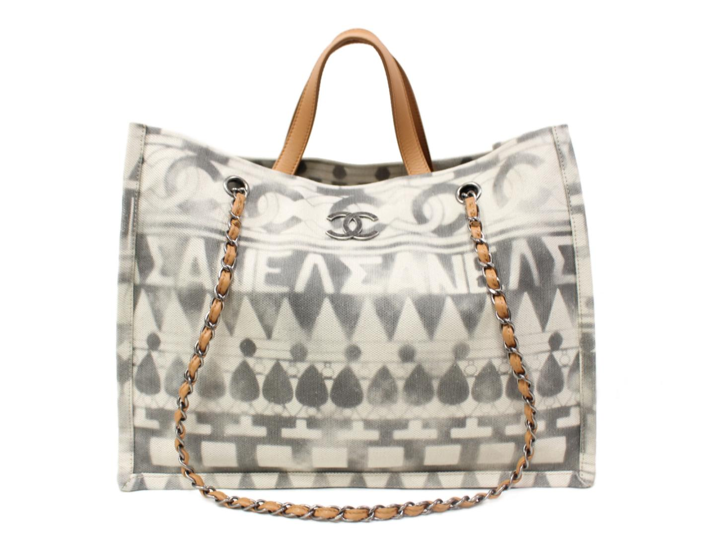 b6b2e90f6 Auth CHANEL 2way Shoulder Tote Bag Canvas x Leather White Used Vintage |  BRANDOFF Ginza/ ...