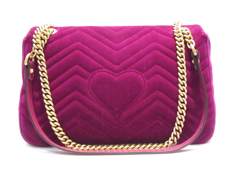 1401171c9af1 ... Auth GUCCI GG Marmont chain shoulder flap bag 443496 velvet Purple Used  Vintage | BRANDOFF Ginza ...