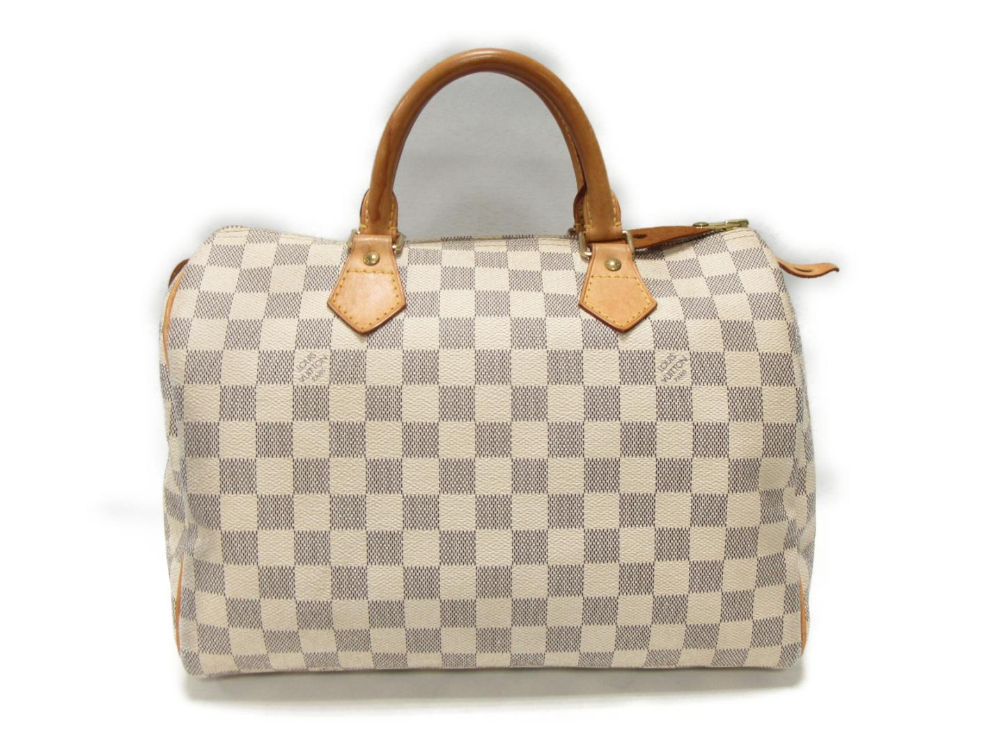 303cb34adda5 Authentic LOUIS VUITTON Speedy 30 Boston hand Bag N41533 Damier Azur