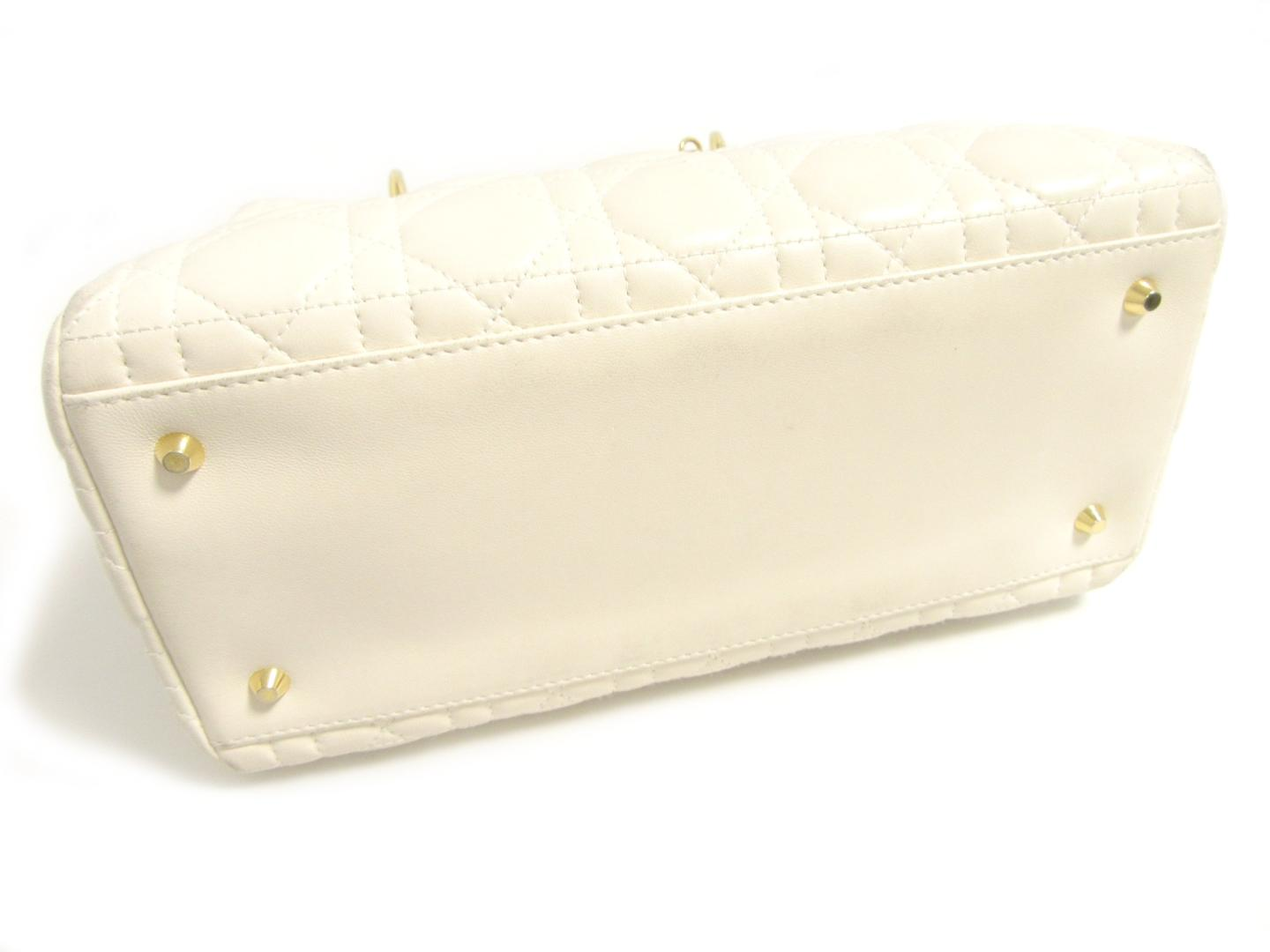 b33fef8acbb9 Authentic Christian Dior Lady Dior Tote Hand Bag Lamb Leather Ivory White  GHW
