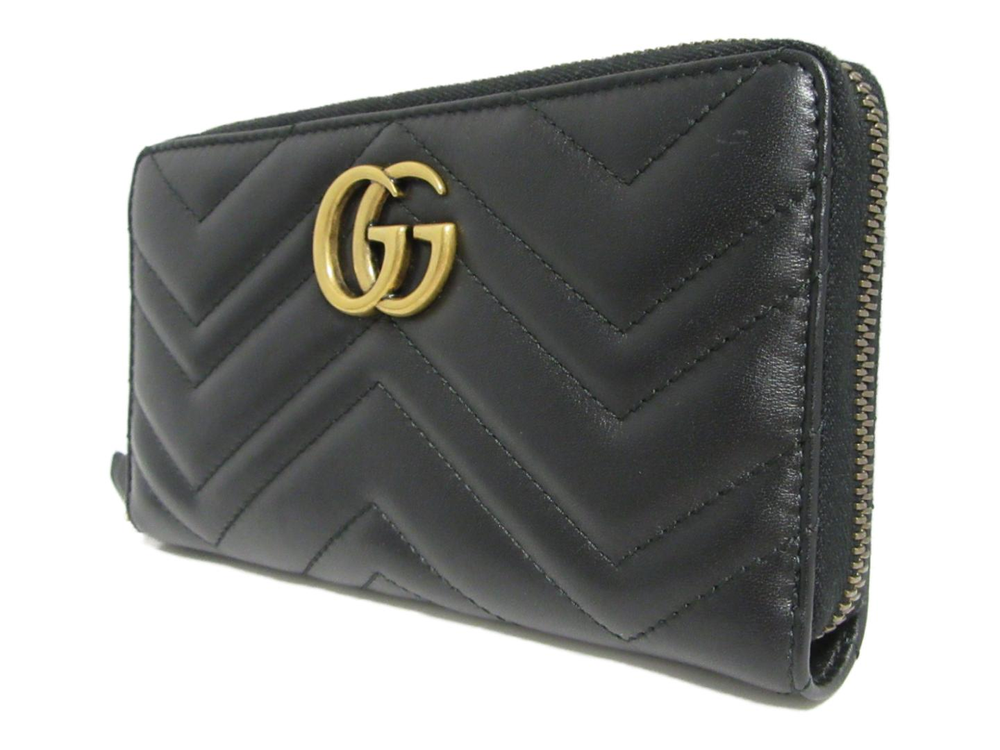 16f1a7e059a Auth GUCCI GG Mermonte round long wallet Purse 443123 leather Black