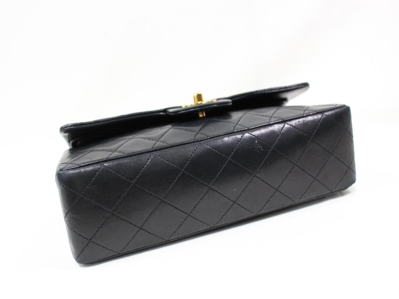 17d600ea53ae5d Authentic CHANEL Matelasse W Flap Chain Shoulder Bag Lamb Leather Black GHW