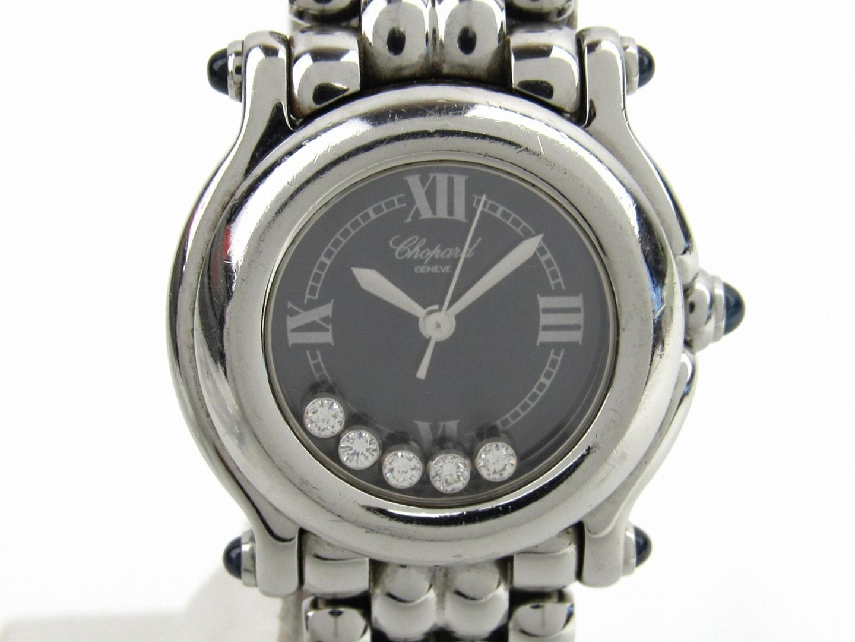 【中古】ショパール ハッピースポーツ 5Pダイヤモンド ウォッチ 腕時計 時計 レディース ステンレススチール(SS) (27/8250-23)