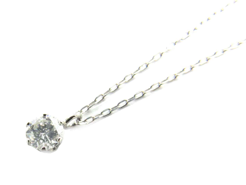 ジュエリー 一粒ダイヤモンド ネックレス 貴金属 宝石 レディース PT900 プラチナ x PT850 プラチナ x ダイヤモンド(0.204ct) (695800)