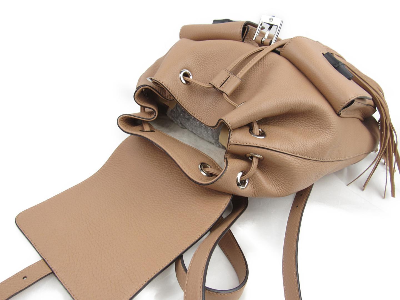 e71e77d8d2fa Authentic GUCCI Bamboo rucksack backpack Bag Fringe 370833 Leather calf  Beige