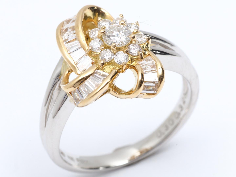 【中古】ジュエリー ダイヤモンド リング 指輪 11号 貴金属 宝石 レディース PT900 プラチナ K18YG イエローゴールド ダイヤモンド(0.30ct/0.32ct)