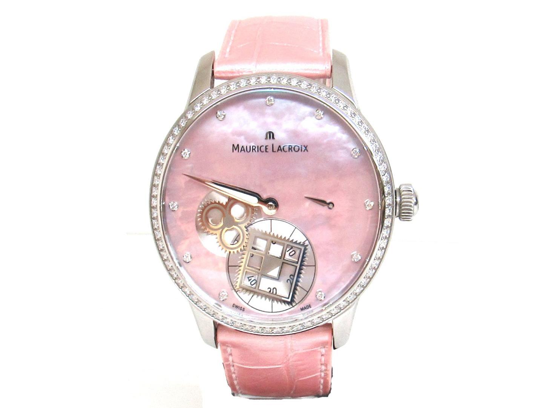 【中古】モーリス・ラクロア マスターピースルーカレ.セコンド 11PD 腕時計 ウォッチ 時計 ステンレススチール(SS)ピンクシェルXクロコ ピンク (MP7158-SD501-570)