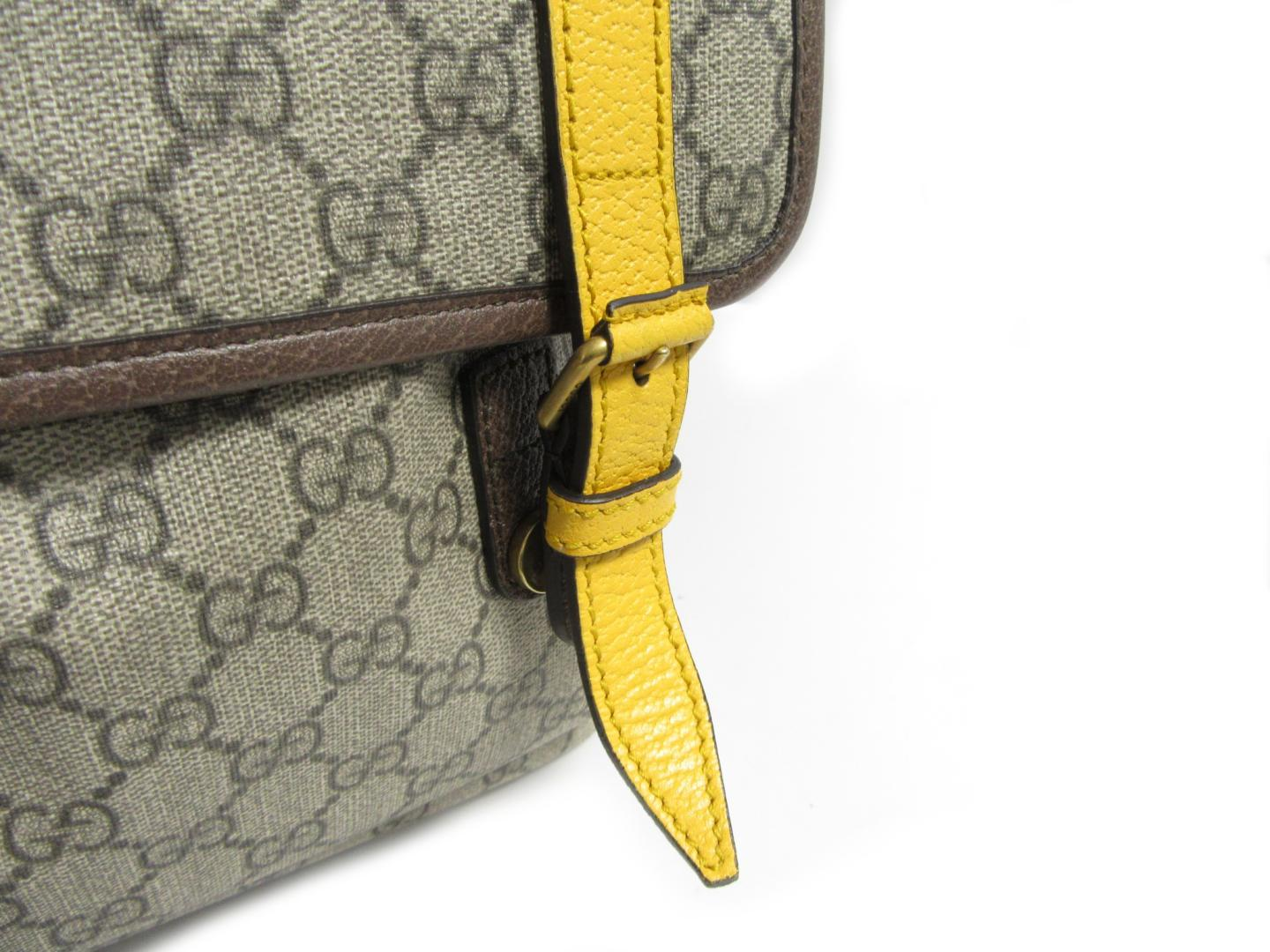 Authentic GUCCI GG Backpack 473869 Leather GG Supreme Canvas Beige Yellow 8ab1a0ec17500