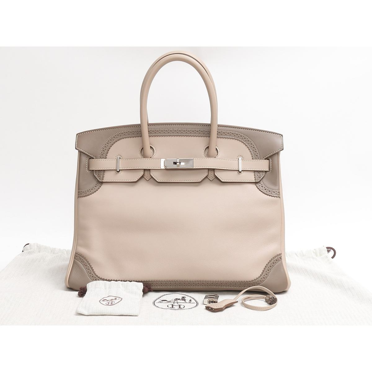 6ac77df7a0 (Free shipping) Auth HERMES Birkin 35 ghillies Hand tote bag Swift leather  Argile Etoupe SHW Used