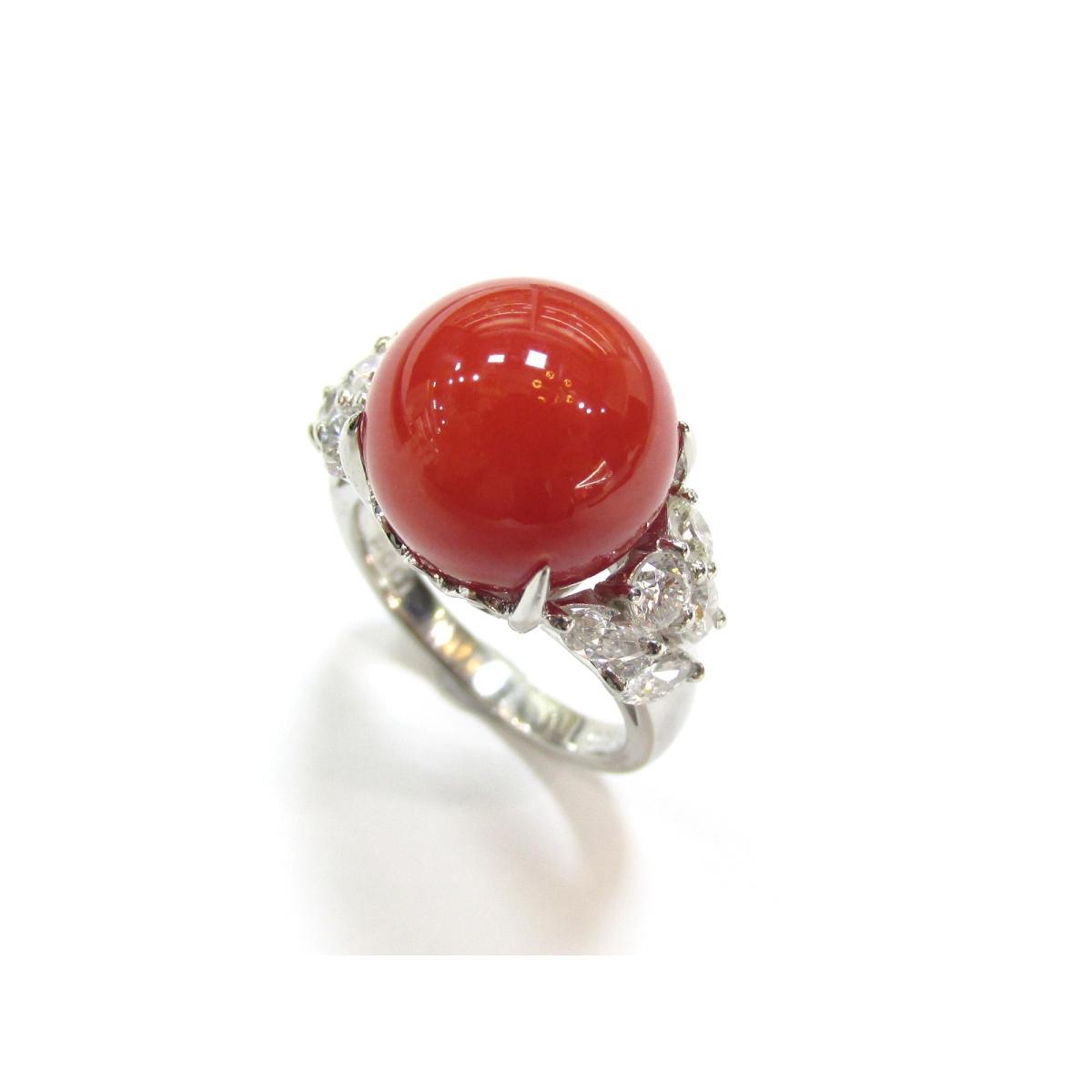 【中古】ジュエリー サンゴ ダイヤモンド リング 指輪 11号 貴金属 宝石 レディース PT900 プラチナ×サンゴ(11.8mm)×ダイヤモンド(1.00ct)