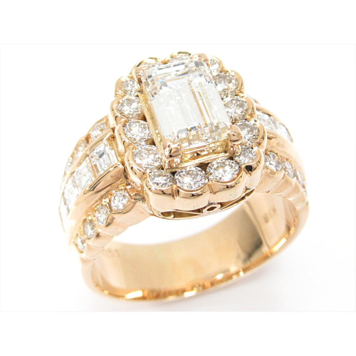 【中古】ジュエリー ダイヤモンドリング 指輪 貴金属 宝石 レディース K18YG(750) イエローゴールドxダイヤモンド(1.22/0.94/0.51ct)