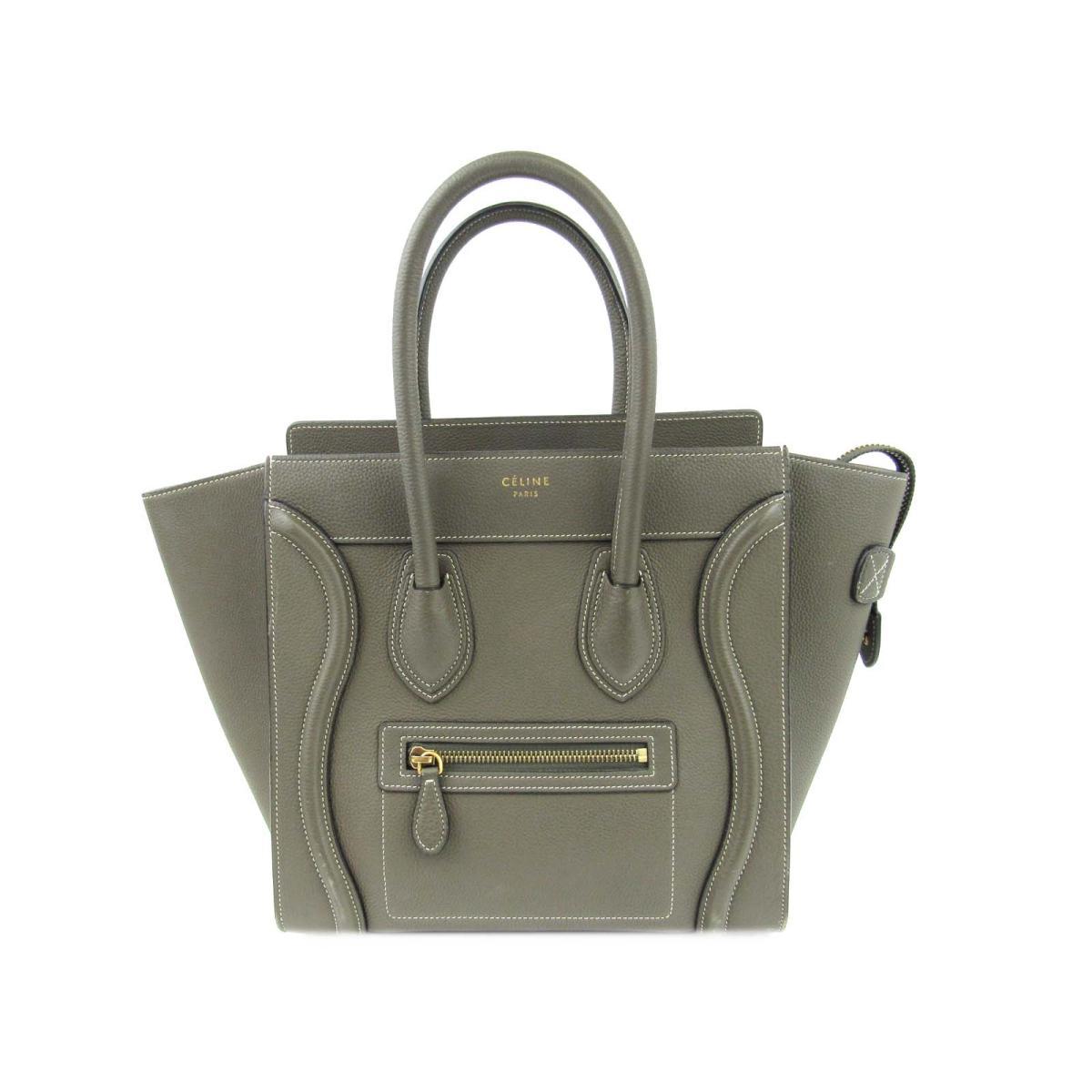 Authentic CELINE Luggage Micro Shopper Hand Tote Bag Leather (calf) Khaki 1dd71a04b1ea9