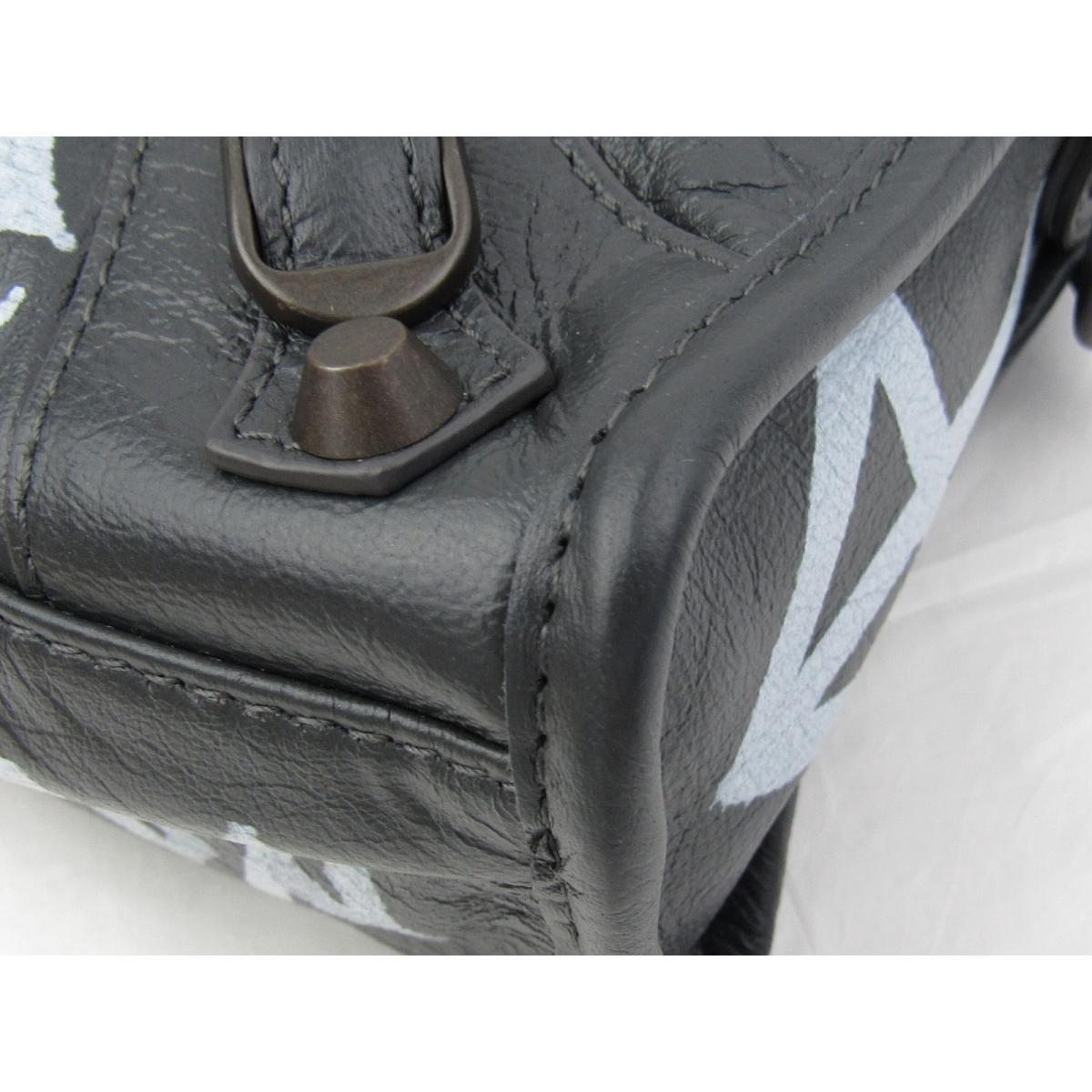 59c4bb6cd514f Authentic BALENCIAGA Graffiti Classic Mini City Shoulder Bag 300295 Goat  leather Gray