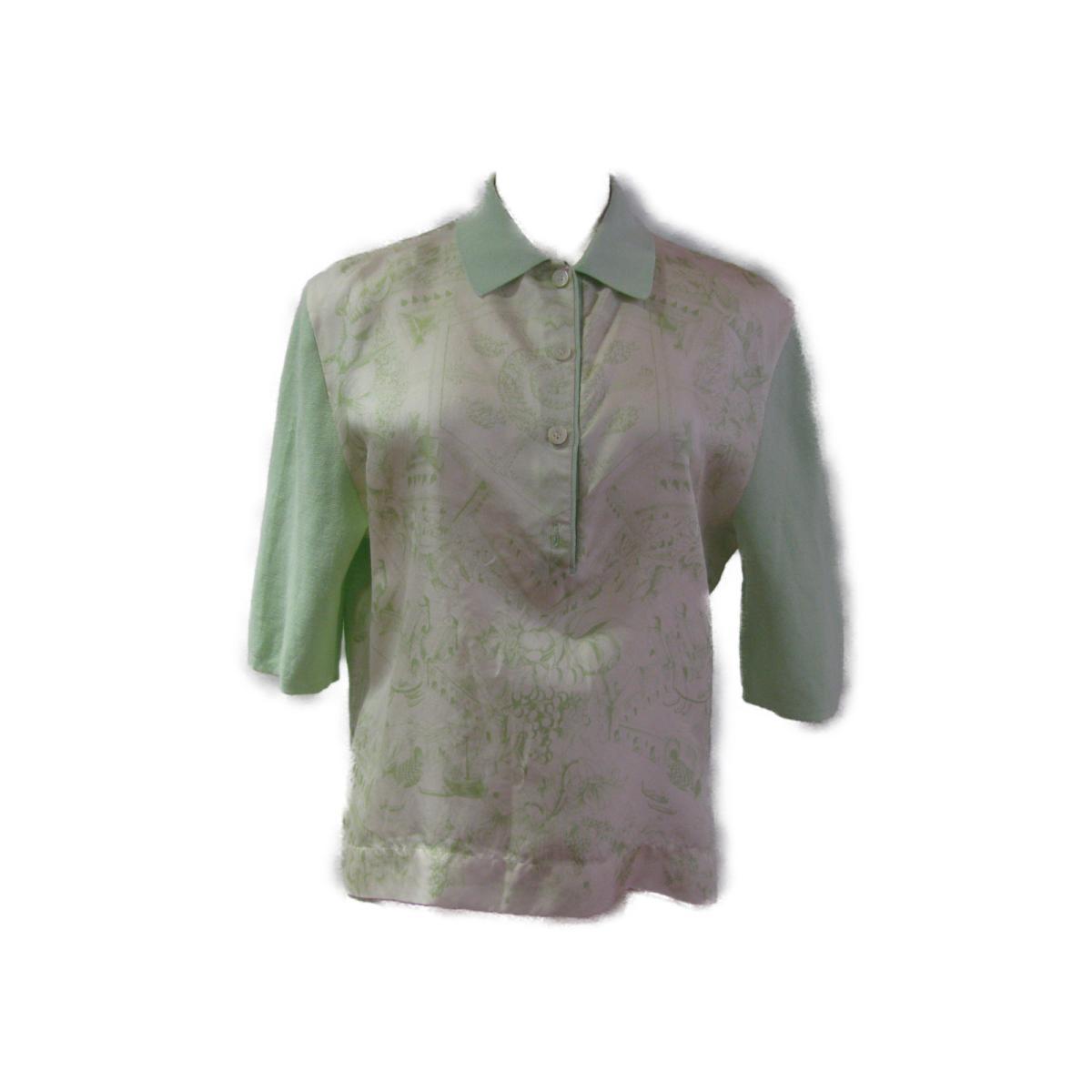 【中古】エルメス ポロシャツ レディース シルク x コットン ライトグリーン