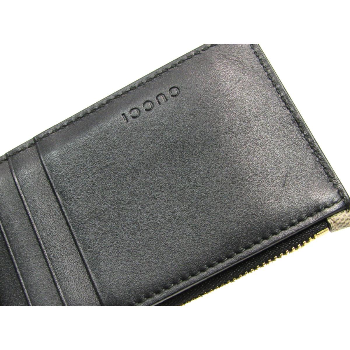 64bbe8c180c6 ... グッチコインケースカードケース小銭入れ財布レディースレザーxコーティングキャンバス( ...