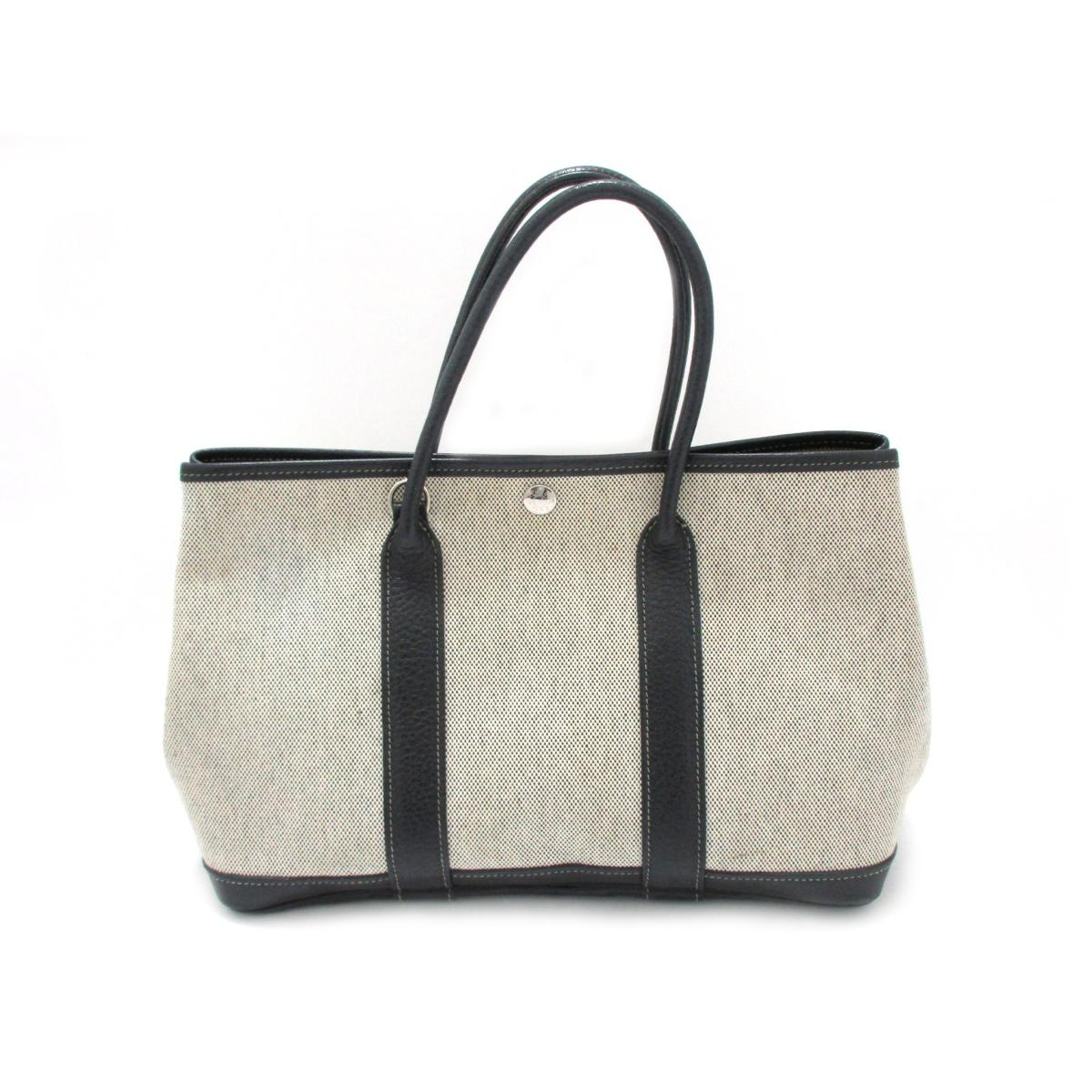 Authentic HERMES Garden Party TPM hand Tote Bag without strap Toile H ×  Buffalo Grey f30b7ed6b8b0a