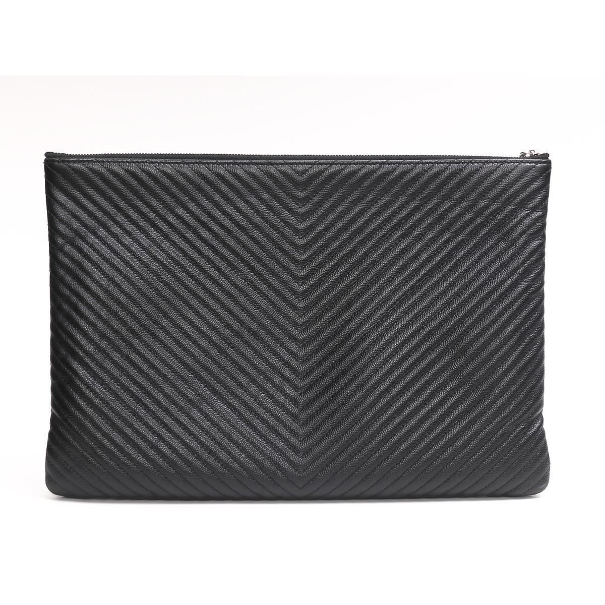 ef431c4ff9c BRANDOFF  Authentic CHANEL Clutch Bag Caviar Leather Black   Rakuten ...