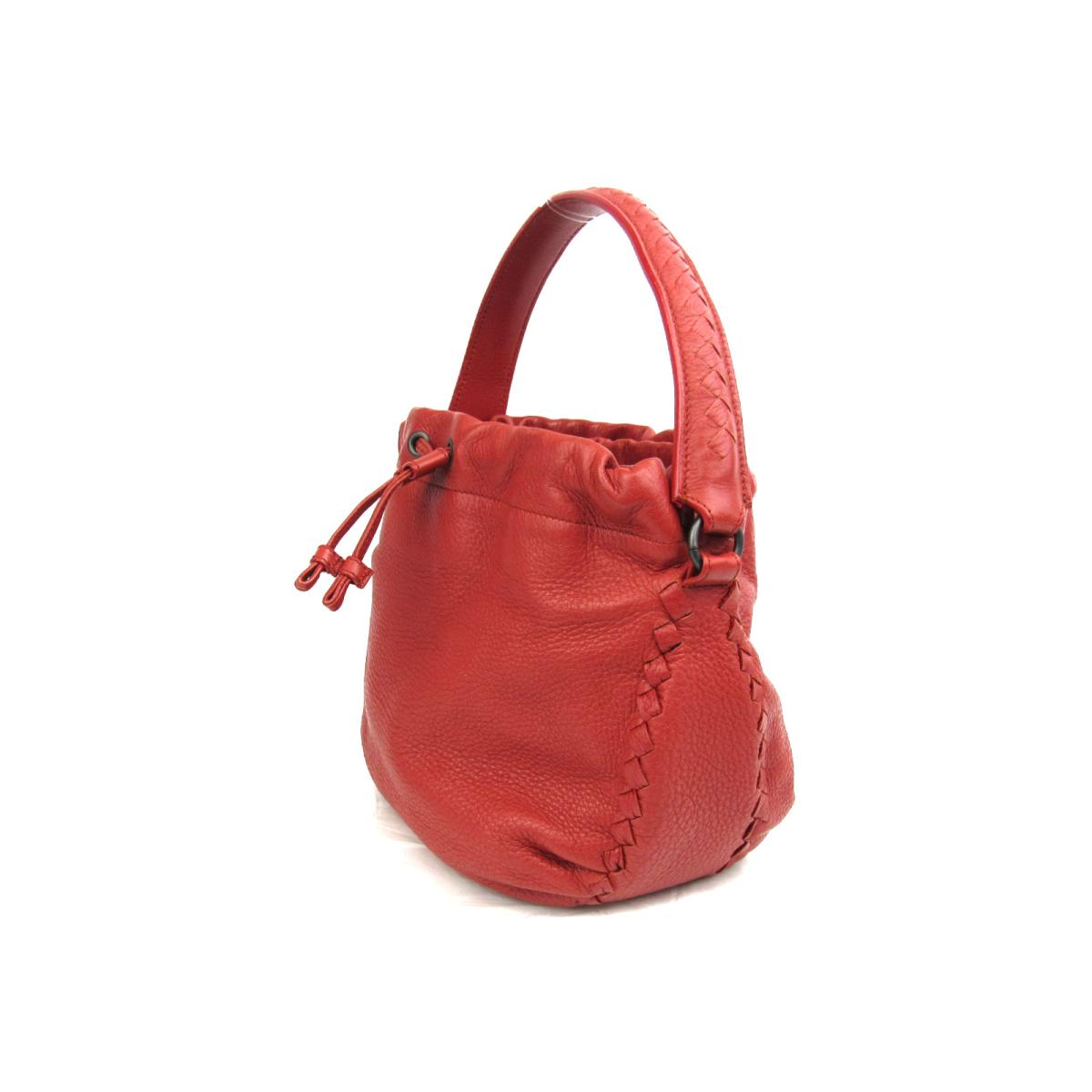 af22bed2e2 BRANDOFF  Authentic BOTTEGA VENETA Drawstring Hand Bag leather Red ...