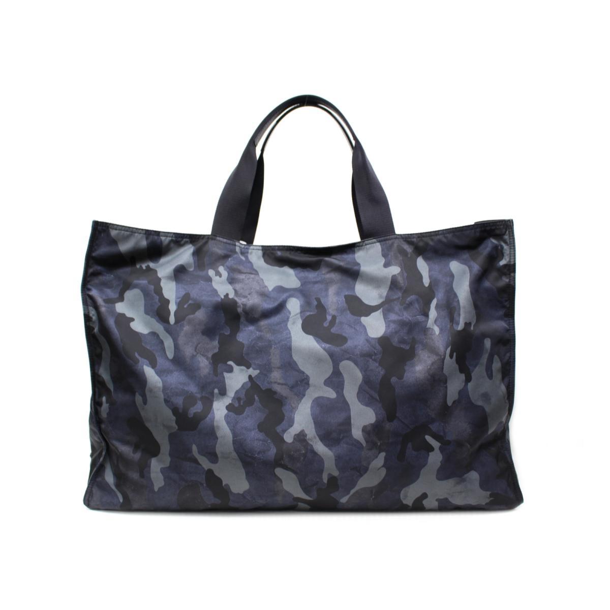feb6ae6b9b87 Authentic PRADA camouflage pattern tote HandBag nylon navy X Black X gray