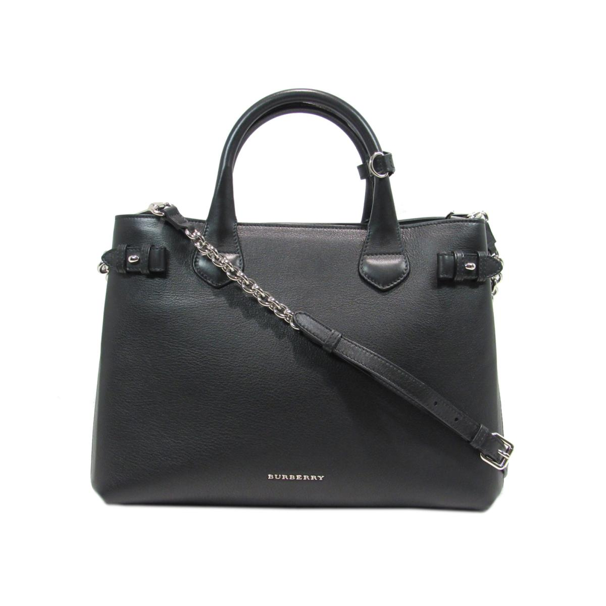 2926e20f2e96 BRANDOFF  Authentic BURBERRY 2way tote Bag leather Black