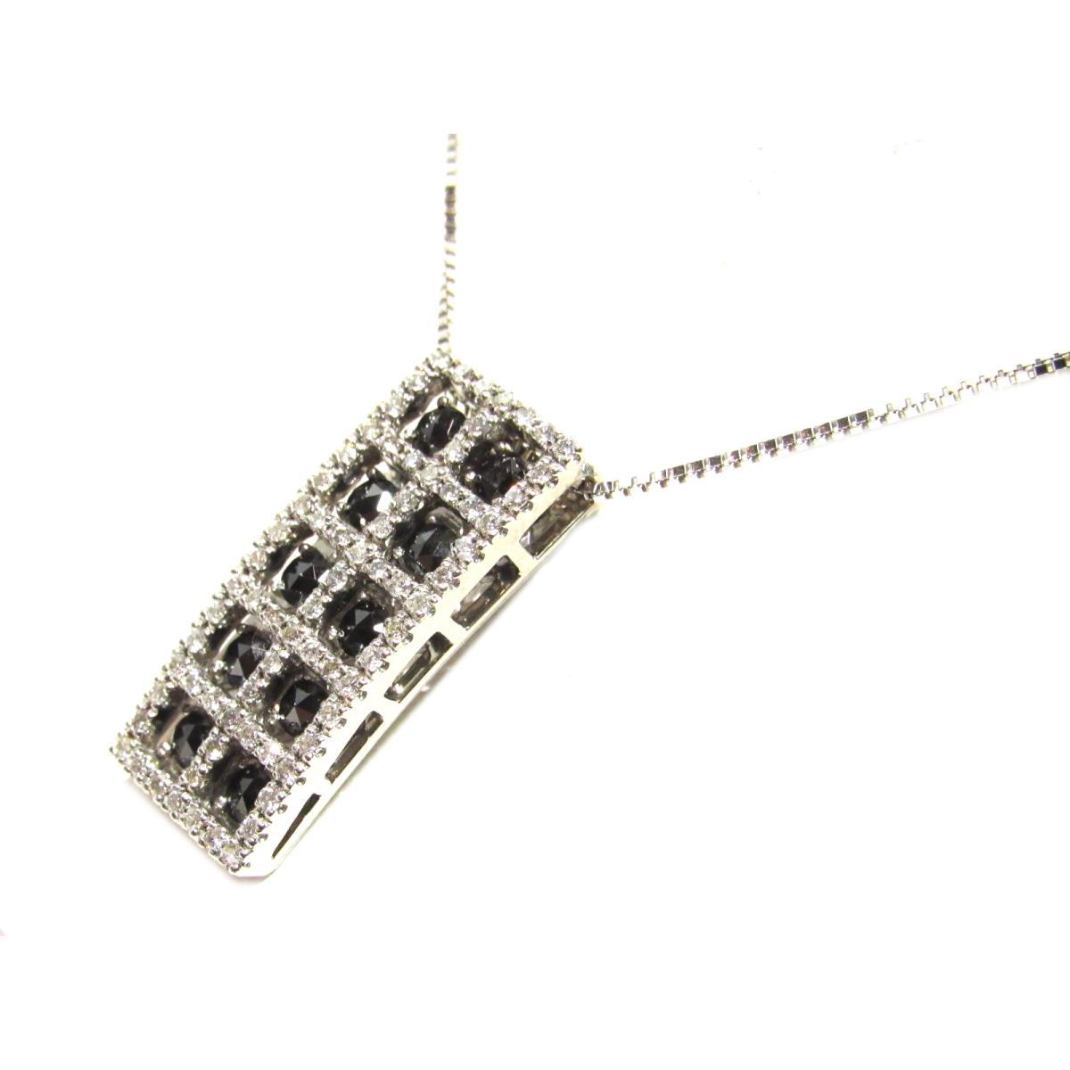 ジュエリー ブラックダイヤモンド ネックレス レディース K18WG (750) ホワイトゴールドx1.0ct ブラック 【中古】 | JEWELRY BRANDOFF ブランドオフ アクセサリー ペンダント