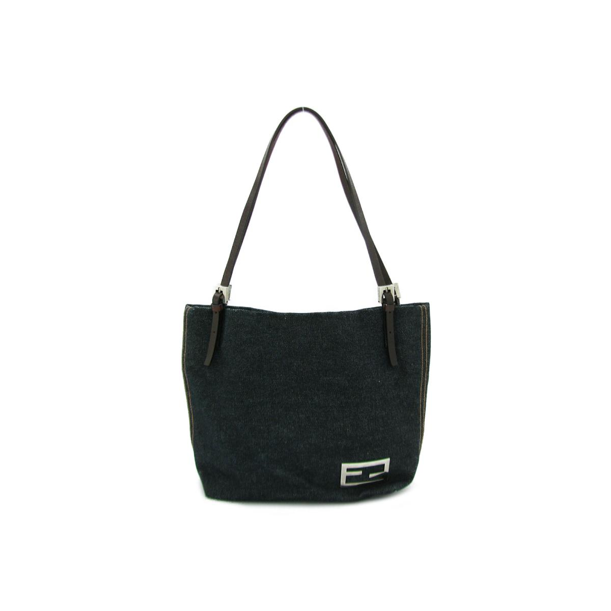 3f29a1a7e6fa BRANDOFF  Authentic FENDI Shoulder tote Bag denim indigo x Brown ...