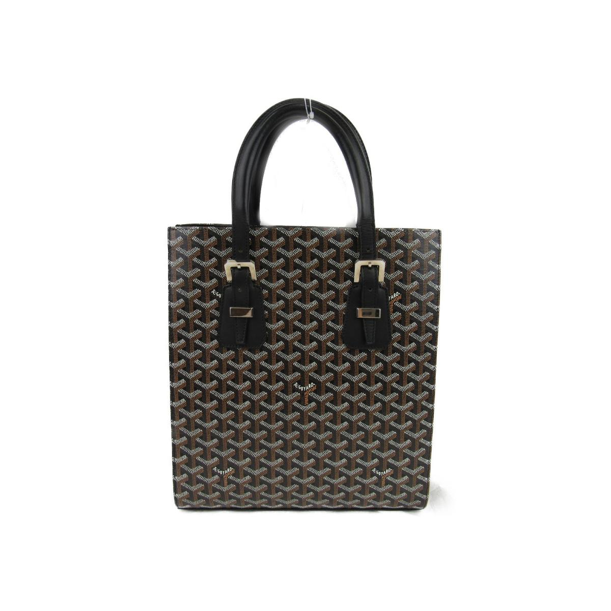 fda493dc07200 BRANDOFF  (Free shipping) Auth GOYARD Comores PM Tote Hand Bag  Leather coated canvas Black Used Vintage