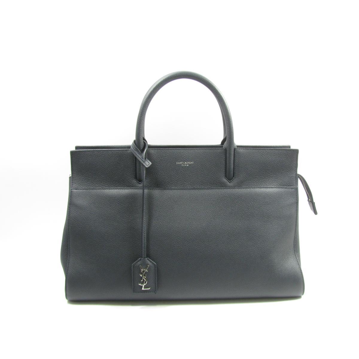 Authentic Yves Saint Laurent Rive Gauche Cabas Tote Shoulder Bag 448967 Leather Calf Navy
