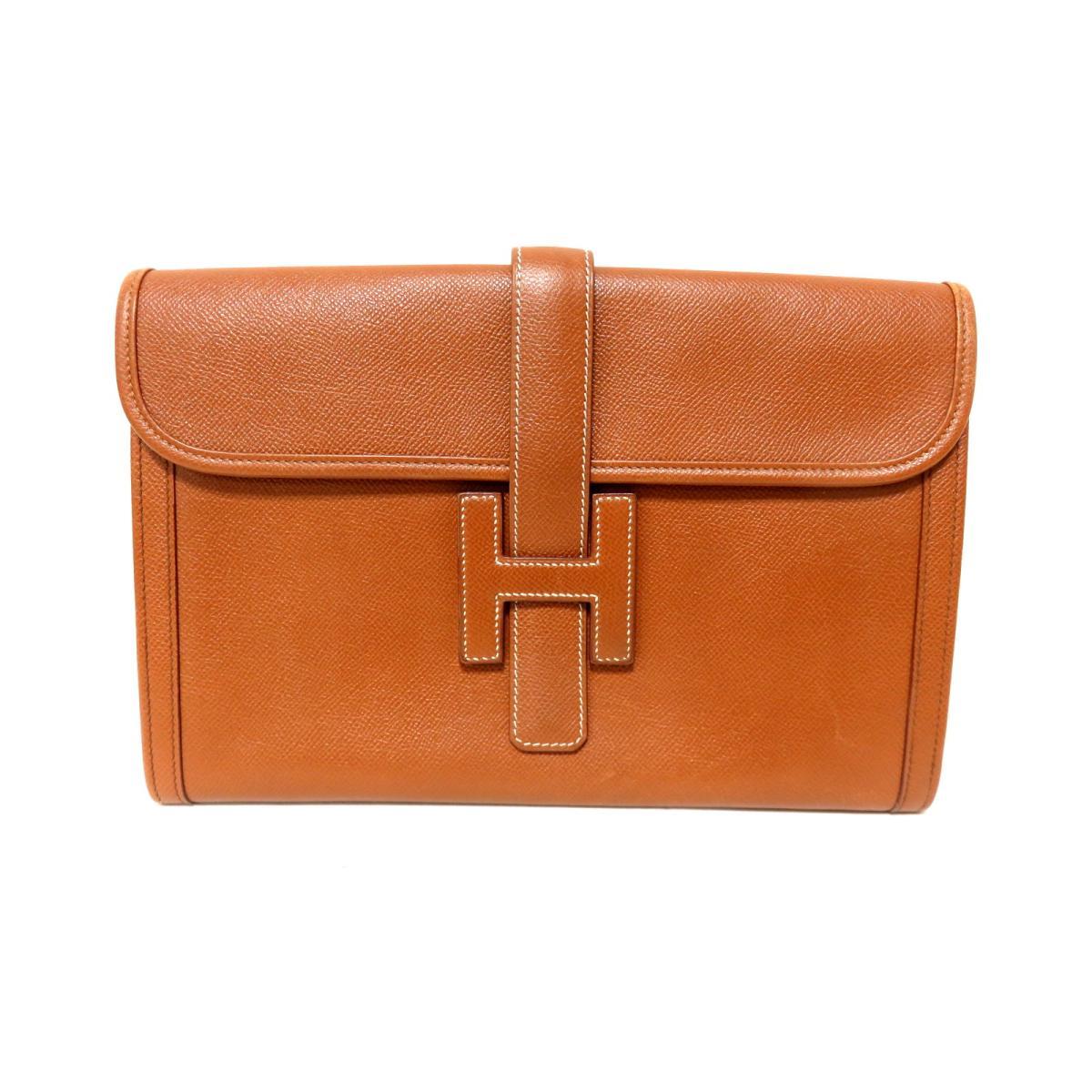 ac5827a3a427 BRANDOFF  Authentic HERMES Jige second clutch Bag Couchever leather ...