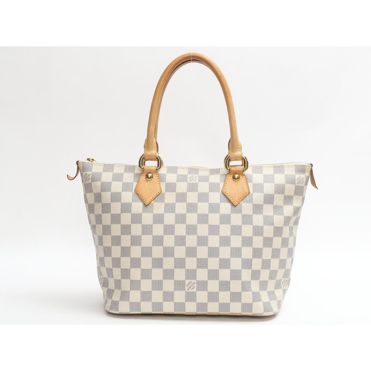 a10e2ef75793 Auth LOUIS VUITTON Saleya Mm Shoulder Tote Bag N51185 Damier Azur Used
