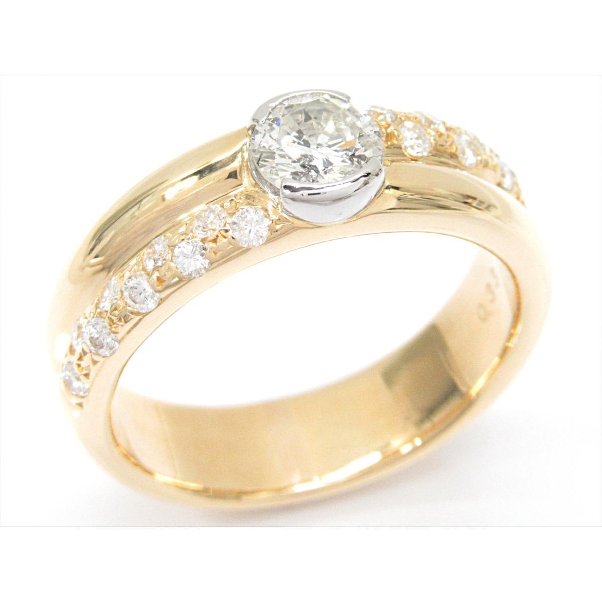 ジュエリー ダイヤモンドリング 指輪 ノーブランドジュエリー レディース K18YG (750) イエローゴールドxPT900 (プラチナ) xダイヤモンド (0.53/0.33ct) 【中古】 | JEWELRY BRANDOFF ブランドオフ アクセサリー リング