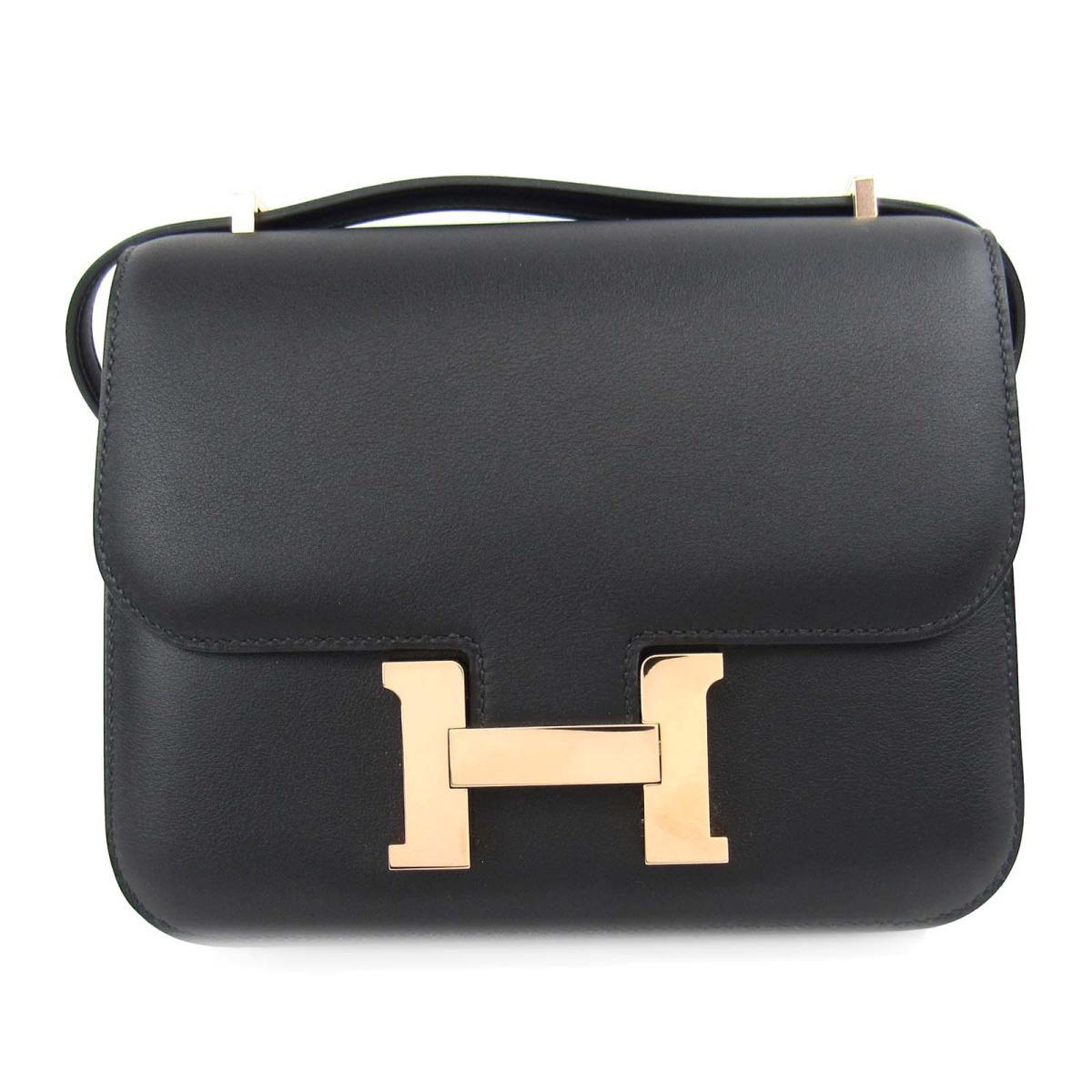 dfc685230ee8 Authentic HERMES mini Constance Shoulder Bag swift leather Black rose gold