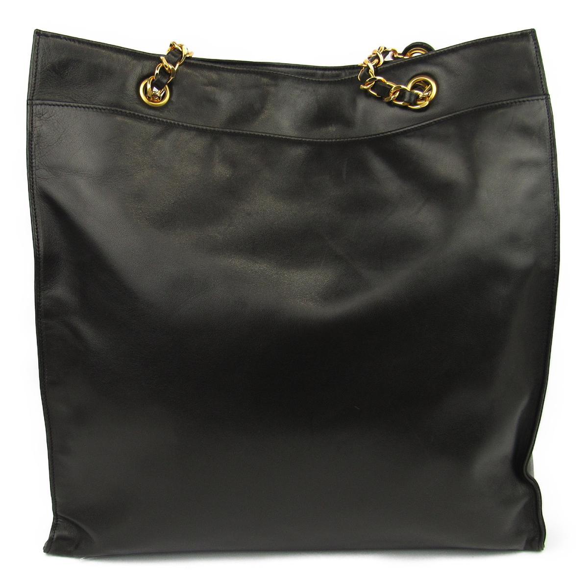 bdd80d8a9799 BRANDOFF  Authentic CHANEL Coco Shoulder Tote Bag leather Black ...