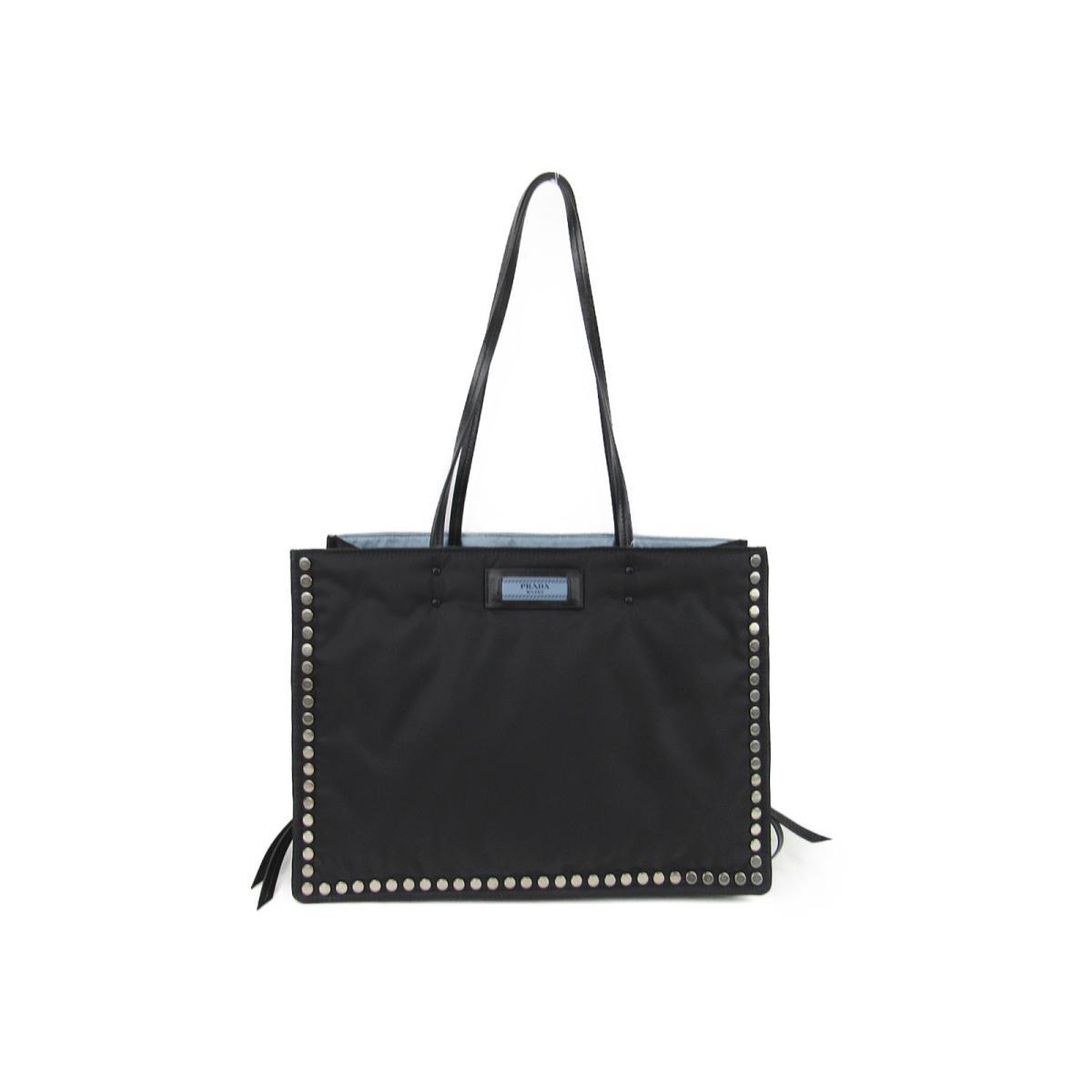 37e7cf882 negro cuero etiqueta Nylon de 1bg118 de con bolso Prada para astral  Auténtico tachuelas mano azul hombro qafwR7HO
