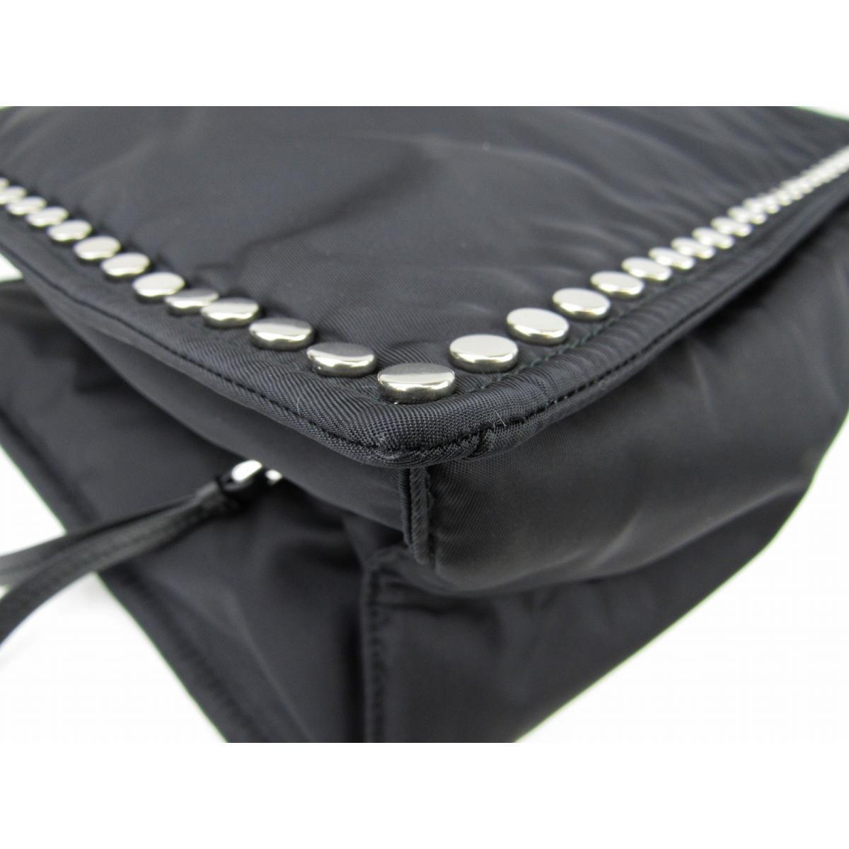 af6acfc9e60f Authentic PRADA Studded Etiquette Shoulder Tote Bag 1BG118 Nylon Leather  Black astral blue