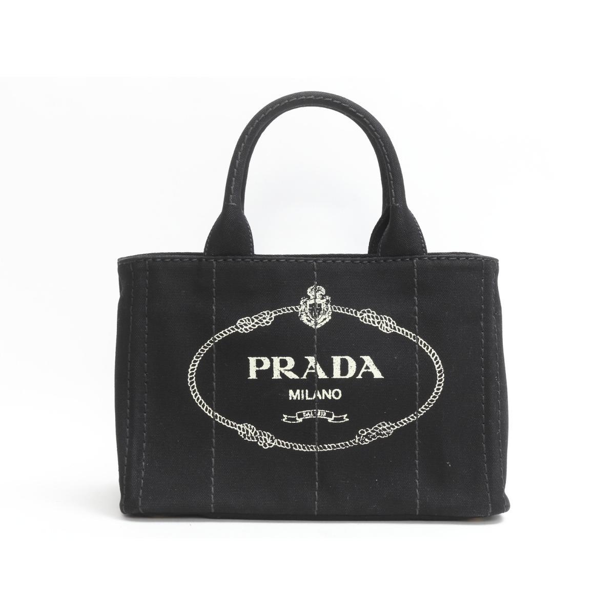 Authentic PRADA Canapa mini tote Bag Shoulder Bag canvas Black (1BG439) 37dd02e17708f