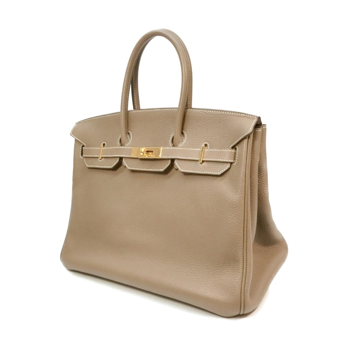 094868a22721c Authentic HERMES Birkin 35 Hand tote Bag Togo leather Etoupe Gray (GHW)