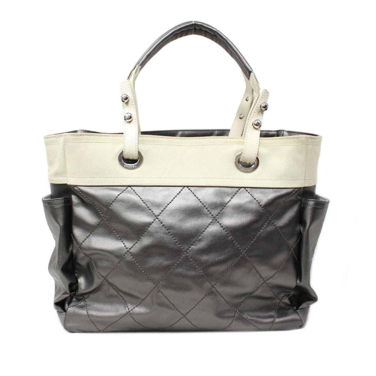 ee3ba6f401a5 BRANDOFF: Auth CHANEL Paris Biarritz Tote Bag PVC x canvas x leather Silver  Used | BRANDOFF Ginza/TOKYO/Japan | Rakuten Global Market