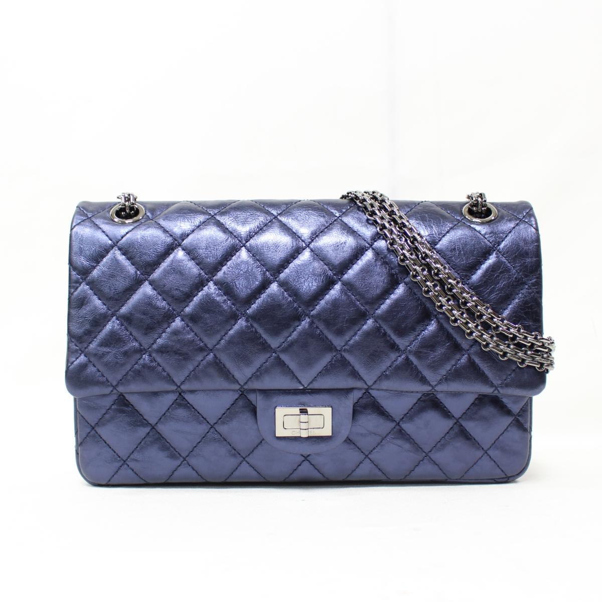 Authentic CHANEL 2.55 Classic W Flap Chain Shoulder Bag A37587 Calf Leather  Metallic Blue fbcf791ef2283