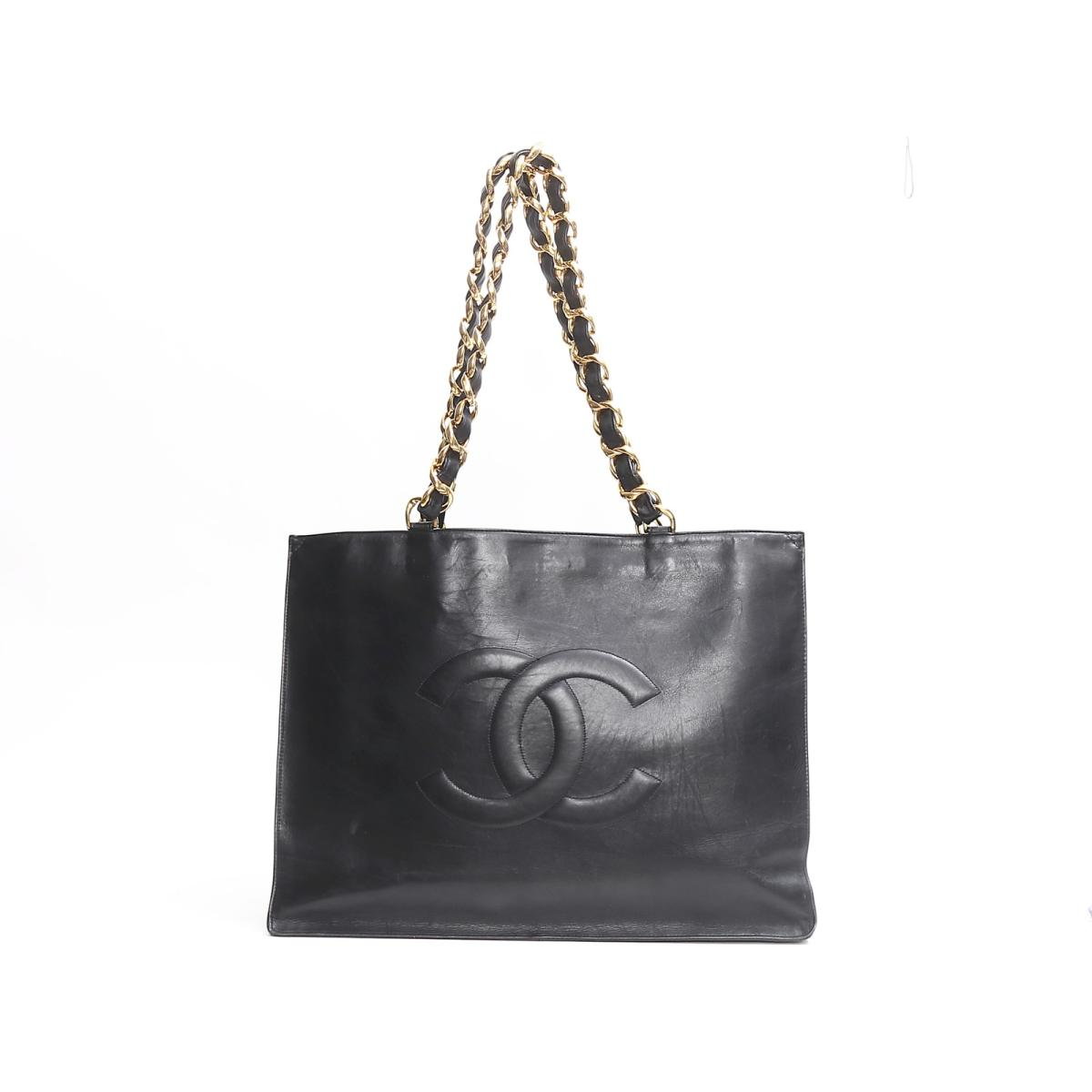 625a5f5747fd2e Auth CHANEL Chain Tote Bag leather Black Used Vintage | BRANDOFF  Ginza/TOKYO/Japan ...